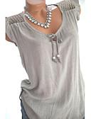 hesapli Tişört-Kadın's V Yaka Gömlek Fırfırlı / Bağcık, Solid Büyük Bedenler Siyah / Bahar / Yaz / Sonbahar