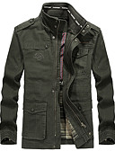 cheap Men's Jackets & Coats-Men's Daily Regular Jacket, Solid Colored Stand Long Sleeve Polyester Black / Army Green / Khaki