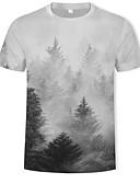 cheap Men's Belt-Men's T-shirt - Galaxy / Color Block / 3D Print White XL