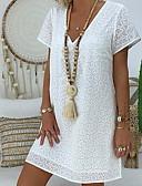 hesapli Mini Elbiseler-Kadın's Gömlek Elbise V Yaka Diz-boyu