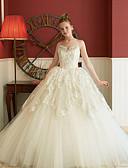 ราคาถูก ชุดแต่งงาน-บอลกาวน์ คอสวีทฮาร์ท ชายกระโปรงชาเปิล ลูกไม้ / Tulle ชุดแต่งงานที่ทำขึ้นเพื่อวัด กับ ของประดับด้วยลูกปัด / ลูกไม้ โดย LAN TING BRIDE®