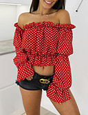 cheap One-piece swimsuits-Women's Blouse - Solid Colored / Polka Dot Off Shoulder Red M