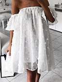 abordables Vestidos Estampados-Mujer Básico Corte Swing Vestido - Volante A lunares Hombros Caídos, Un Color Hasta la Rodilla Sin Tirantes