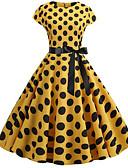 hesapli Vintage Kraliçesi-Kadın's Sokak Şıklığı Çan Elbise - Yuvarlak Noktalı, Desen Diz-boyu