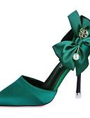 זול הינומות חתונה-בגדי ריקוד נשים סטן אביב נעלי חתונה עקב סטילטו ריינסטון / פפיון שחור / אדום / ירוק / מסיבה וערב