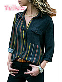 cheap Women's Shirts-2019 New Arrival Shirts Women's Basic Plus Size Cotton Loose Shirt - Striped Camisas Mujer Chemise Femme Patchwork Shirt Collar Red XXXL