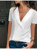 זול חולצה-אחיד חולצה - בגדי ריקוד נשים שחור XXXL