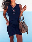 baratos Vestidos de Mulher-Mulheres Básico Tubinho Vestido Sólido Assimétrico