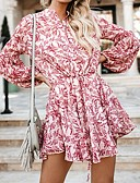 cheap Party Dresses-Women's Mini A Line Dress Ruffle Fashion Crew Neck Spring Black Red Light Blue M L XL