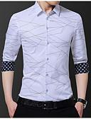 hesapli Erkek Gömlekleri-Erkek Gömlek Desen, Geometrik Büyük Bedenler Siyah