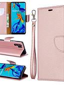 זול מגנים לטלפון-מגן עבור Huawei Huawei P20 Pro / Huawei P20 lite / Huawei P30 ארנק / מחזיק כרטיסים / עם מעמד כיסוי מלא אחיד קשיח עור PU