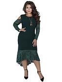 preiswerte Kleider in Übergröße-Damen Anspruchsvoll Elegant Hülle Trompete / Meerjungfrau Kleid - Spitze Patchwork, Solide Asymmetrisch