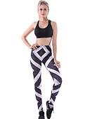 hesapli Taytlar-Kadın's Spor Legging - Çizgili, Desen Orta Bel Siyah M L XL / İnce