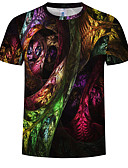 cheap Men's Clothing-Men's Plus Size Cotton T-shirt - Rainbow Print Round Neck Rainbow