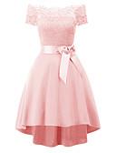 cheap Romantic Lace Dresses-Women's Sophisticated Elegant A Line Dress - Solid Colored Lace Gray Purple Wine L XL XXL