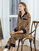 abordables Pijamas-Mujer Cuello Camisero Traje Pijamas Leopardo