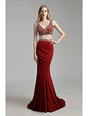 cheap Prom Dresses-Mermaid / Trumpet Plunging Neck Sweep / Brush Train Crepe Two Piece / Beautiful Back Formal Evening Dress with Crystals by JUDY&JULIA