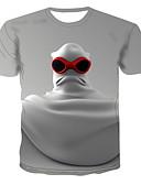 abordables Camisetas y Tops de Hombre-Hombre Estampado Camiseta, Escote Redondo Caricatura Blanco XXXXL
