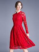 abordables Vestidos Estampados-Mujer Sofisticado Línea A Vestido - Encaje Cortado, Un Color Hasta la Rodilla