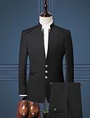 abordables Americanas y Trajes de Hombre-Hombre trajes, Un Color Escote en Pico Poliéster Negro / Azul Marino / Wine XXL / XXXL / XXXXL