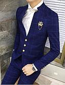 povoljno Odijela-Crn / Navy Plava kockast Uski kroj Pamuk Odijelo - Mandarin Droit 3 boutons