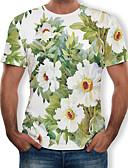 abordables Camisetas y Tops de Hombre-Hombre Tallas Grandes Estampado - Algodón Camiseta, Escote Redondo Floral Blanco XXXXL