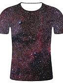 levne Pánské košile-Pánské - Galaxie / 3D / Grafika Větší velikosti Tričko, Tisk Bavlna Kulatý Černá XXL