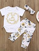 זול סטים של ביגוד לתינוקות-סט של בגדים כותנה שרוולים קצרים דפוס פרחוני / גיאומטרי / דפוס פעיל / בסיסי בנות תִינוֹק / פעוטות