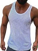 hesapli Erkek Tişörtleri ve Atletleri-Erkek İnce - Kısa Paltolar Çizgili AB / ABD Beden Beyaz