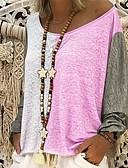 povoljno Ženski jednodijelni kostimi-Veći konfekcijski brojevi Majica s rukavima Žene Dnevni Nosite Color block Slim Blushing Pink / Proljeće / Ljeto / Jesen / Zima