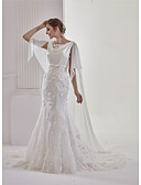 cheap Wedding Dresses-Mermaid / Trumpet Bateau Neck Court Train Chiffon / Lace / Tulle Made-To-Measure Wedding Dresses with Beading / Appliques / Bow(s) by ANGELAG