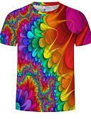 abordables Camisetas y Tops de Hombre-Hombre Talla EU / US Estampado Camiseta, Escote Redondo 3D / Arco iris Arco Iris XXXXL