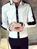 hesapli Erkek Gömlekleri-Erkek Alttan Düğmeli Yaka İnce - Gömlek Solid / Zıt Renkli Beyaz