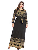 abordables Vestidos Maxi-Mujer Vintage Elegante Corte Swing Vestido - Lazo Acordonado Estampado, A Lunares Geométrico Tribal Maxi