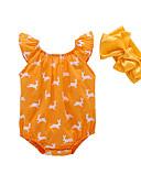 billige De flotteste sparkedragter-Baby Pige Aktiv / Basale Trykt mønster Trykt mønster Uden ærmer Bomuld Bodysuit Orange