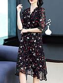 abordables Encaje Romántico-Mujer Sofisticado Elegante Vaina Vestido - Encaje, Floral Hasta la Rodilla