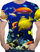 hesapli Erkek Tişörtleri ve Atletleri-Erkek Yuvarlak Yaka Tişört Desen, 3D / Hayvan AB / ABD Beden Havuz