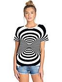billige T-shirt-Dame - Stribet / Farveblok / 3D Trykt mønster Gade / overdrevet T-shirt Hvid