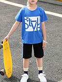 זול ילדים כובעים ומצחיות-סט של בגדים כותנה קצר שרוולים קצרים דפוס דפוס בסיסי / פאנק & גותיות בנים ילדים / פעוטות