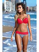 economico Bikinis-Per donna Essenziale Rosso Rosa Giallo Bikini Costumi da bagno - Tinta unita Schiena scoperta M L XL Rosso