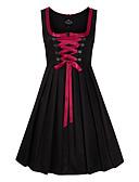 hesapli Oktoberfest-Kasım Festivali üstü dar altı geniş elbise Trachtenkleider Kadın's Elbise Bavyera Kostüm Siyah