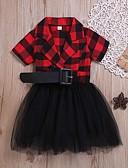 זול שמלות לבנות-שמלה מעל הברך שרוולים קצרים Ruched / רשת / טלאים קולור בלוק / טלאים שחור ואדום סגנון רחוב / פאנק & גותיות בנות ילדים / פעוטות / כותנה