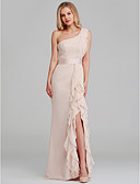 cheap Evening Dresses-White by Vera Wang Sheath / Column One Shoulder Long Length Chiffon Bridesmaid Dress with Cascading Ruffles by LAN TING BRIDE®