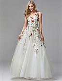 preiswerte Abendkleider-A-Linie V-Ausschnitt Boden-Länge Spitze / Tüll Formeller Abend Kleid mit Perlenstickerei / Stickerei durch TS Couture®
