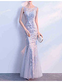 cheap Evening Dresses-Mermaid / Trumpet Jewel Neck Floor Length Tulle Dress with Pattern / Print / Lace Insert by LAN TING Express