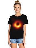 halpa Miesten t-paidat ja hihattomat paidat-Naisten Painettu Galaksi / Color Block / 3D Katutyyli / Liioiteltu Pluskoko - T-paita Musta