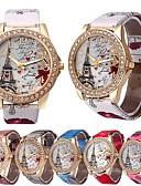 זול שעונים קוורץ-בגדי ריקוד נשים קווארץ Heart Shape מגדל אייפל לבן כחול אדום דמוי עור קווארץ אודם ורוד מסמיק אפרסק שעונים יום יומיים יחידה 1 אנלוגי שנה אחת חיי סוללה / מתכת אל חלד