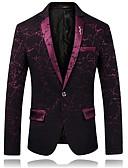 זול ז'קטים-בורגנדי / שחור / כחול ים מעוטר גזרה צרה כותנה חליפה - פתוח Single Breasted One-button
