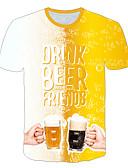 billige T-shirts og undertrøjer til herrer-Rund hals Herre - Farveblok / 3D / Frugt Trykt mønster Plusstørrelser T-shirt Gul XXXXL / Kortærmet