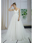 cheap Wedding Dresses-A-Line V Neck Court Train Lace / Tulle / Sequined Made-To-Measure Wedding Dresses with Appliques / Lace by ANGELAG